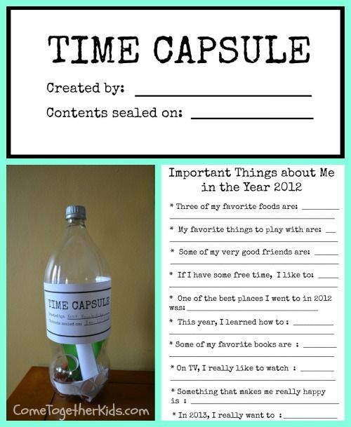 "New Year's Eve Time Capsule (with printables) makes a great project to do with your kids.  ""Bury"" it in a keepsake box so they can see what was their favorites for each year growing up."