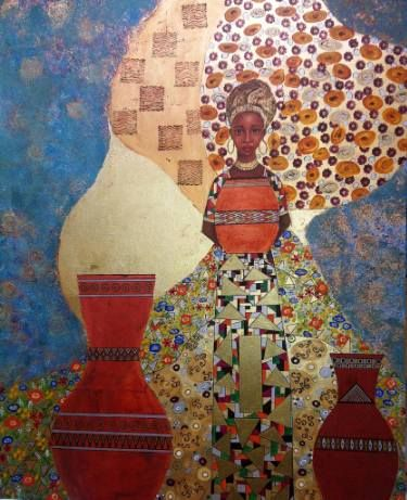 """Saatchi Art Artist Yvonne Sommeling; Painting, """"Woman with pots"""" #art"""