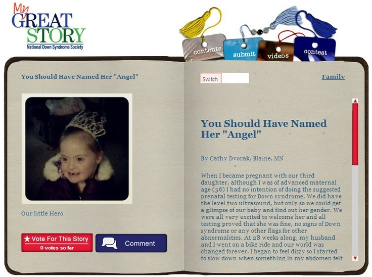 """Check out the May 2013 My Great Story of the Month Contest winner, You Should Have Named her """"Angel,"""" by Cathy Dvorak, Blaine, MN. Share your story at http://ndss.org/stories!"""