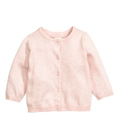 Fine-knit cardigan in soft, melange cotton fabric with a round neckline. Buttons at front.
