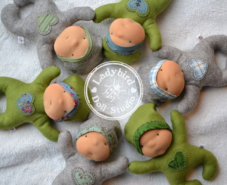 Valentines nestling waldorf dolls from Ladybird Doll studio