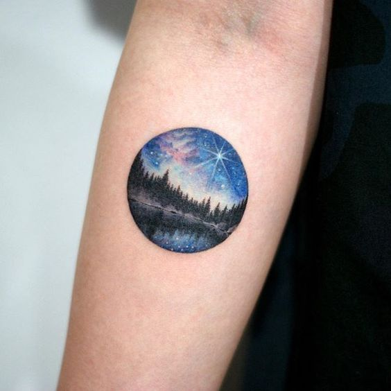 Night sky tattoo stars galaxy forest lake circle small peaceful