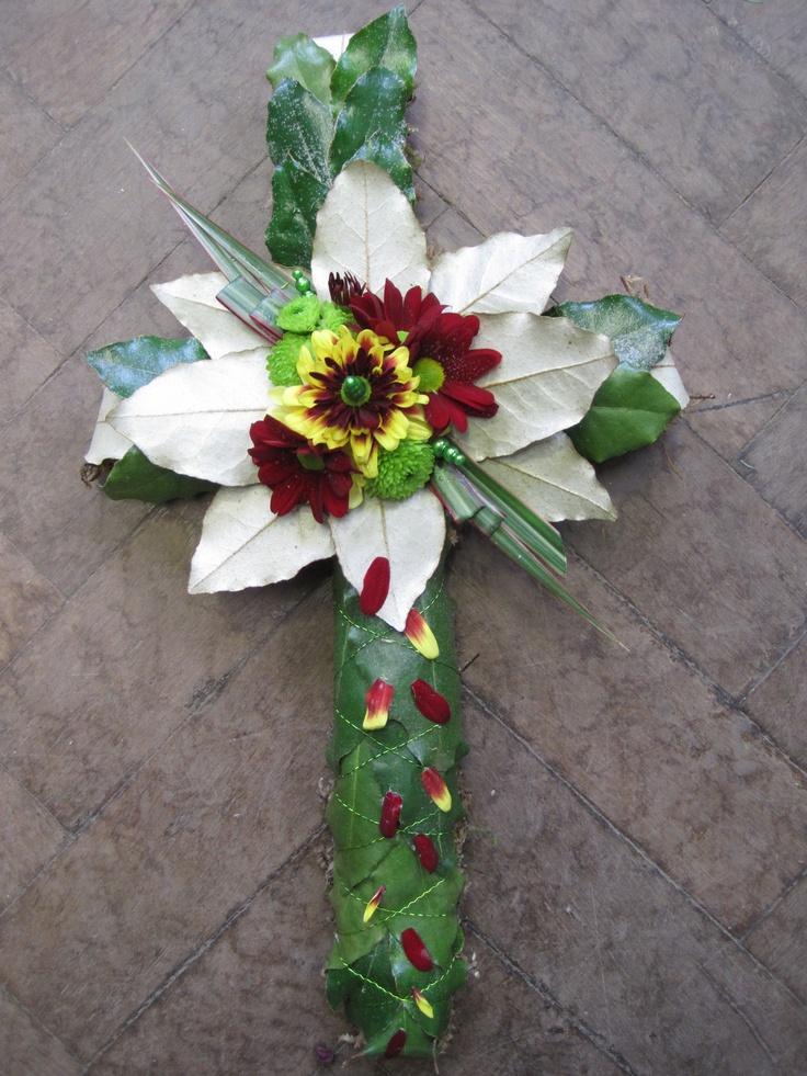 Mossed cross funeral tribute