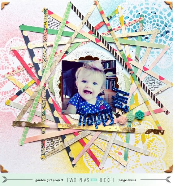 Scrap Your Stash: Happy Girl - PATTERNED PAPER - Two Peas in a Bucket - Love the design made with the pattern paper strips