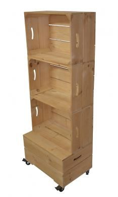 Large Three Apple Crate Shelving Furniture with wheels for easy moving.  This is my favorite for mom's room.  Light stain or an antiqued paint finish with a wallpaper back would be gorgeous on either side of her couch.
