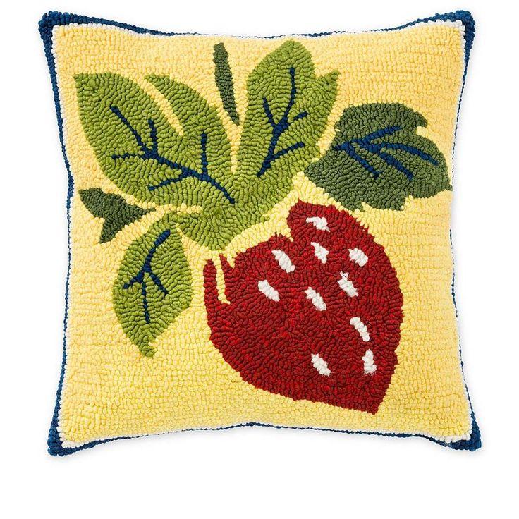 Colorful Indoor/Outdoor HandHooked Strawberry Throw