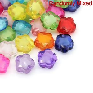 """Image of 100PCs At Random Flower Acrylic Spacer Beads Bead in Bead Style13mmx13mm 48""""x 48"""""""