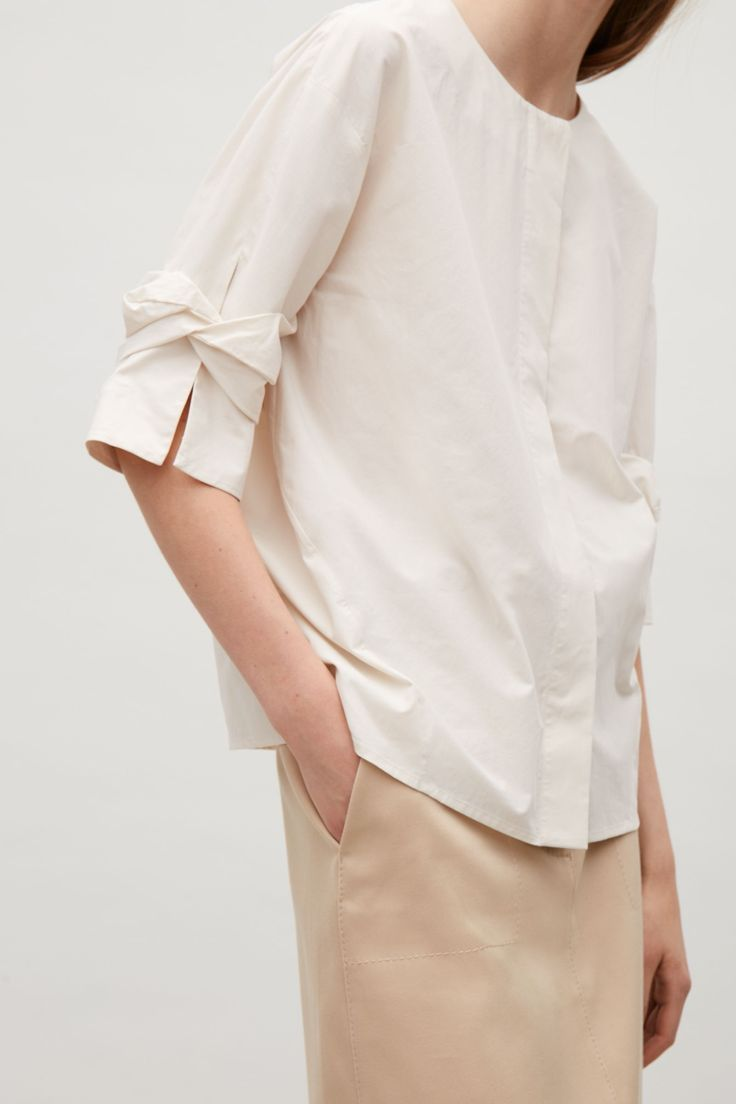 COS image 2 of Cotton top with draped sleeves in Beige