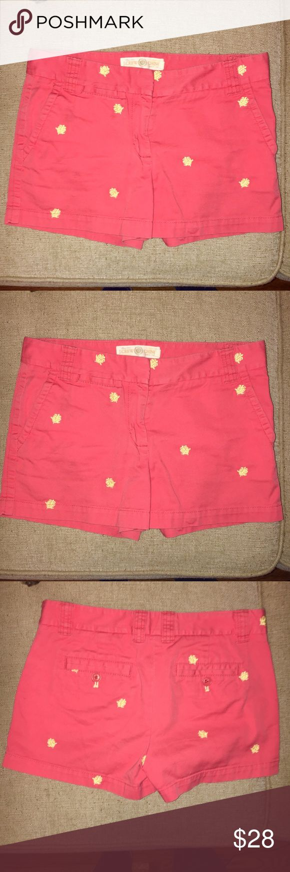 "J. Crew 3"" Chino Shorts J. Crew 3"" chino shorts. Coral with yellow turtles. Like new! Fits true to size. J. Crew Shorts"