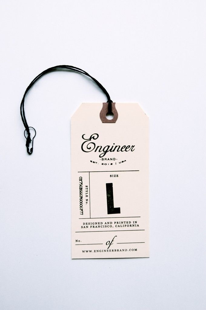 """Engineer Brand"" Tags Via IN HAUS PRESS Letterpress studio"