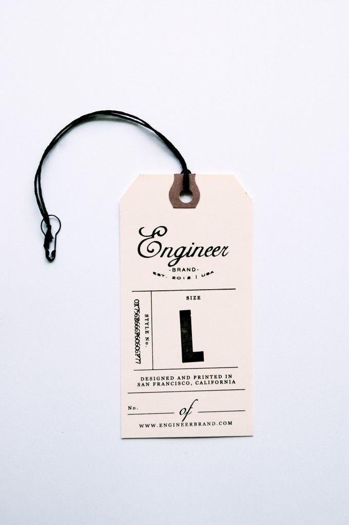 """Engineer Brand"" Tags Via IN HAUS PRESS Letterpress studio"
