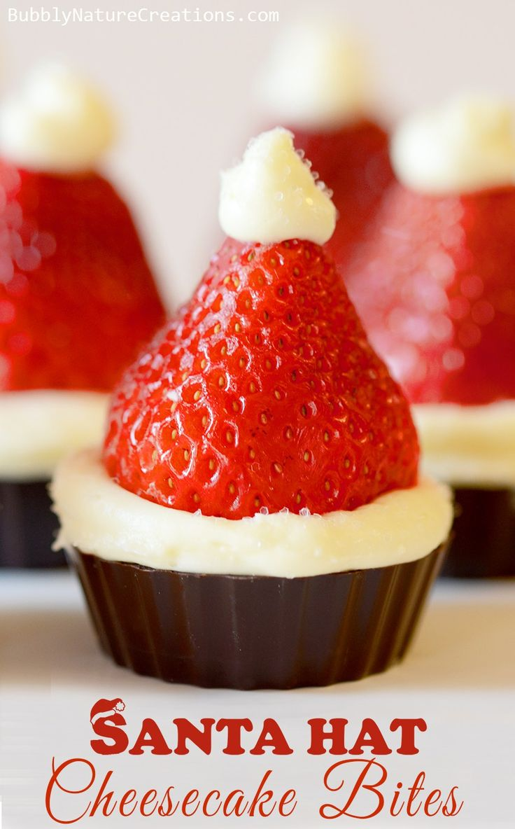 Santa Hat Cheesecake Bites! No bake and super easy to make!