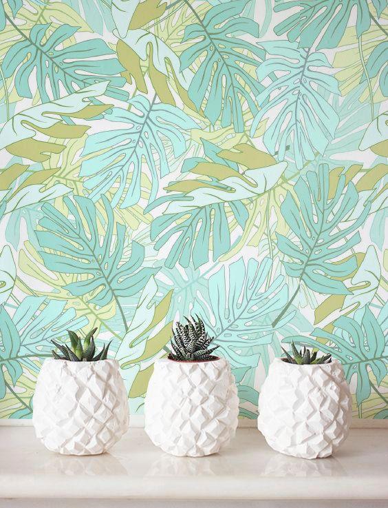 Aquarel Palm Monstera verlaat behang, verwisselbare, Self adhesive behang, Jungle wand decor, Jungle wandbekleding - JW094