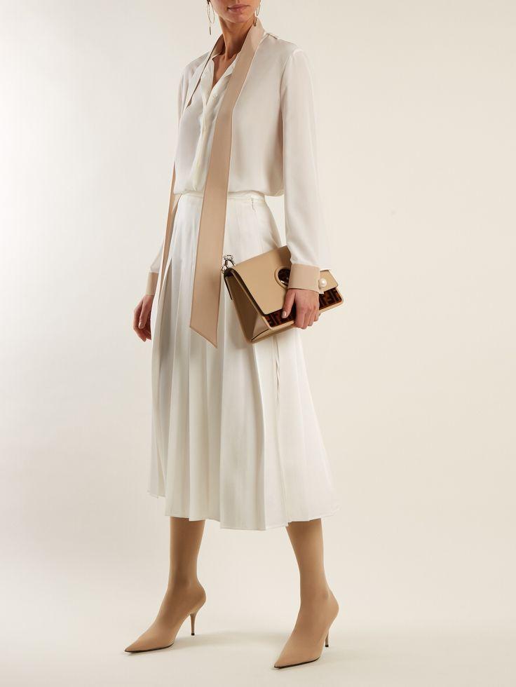 FENDI  Stand-collar tie-neck silk blouse