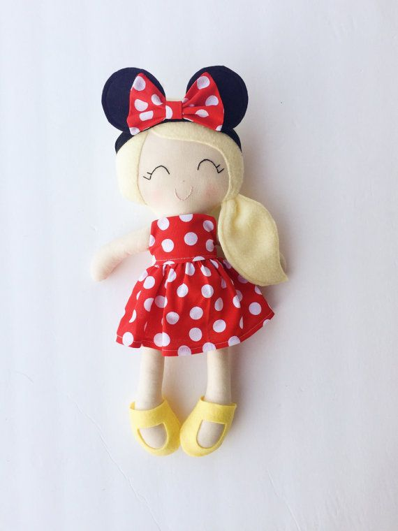Minnie doll  cloth doll  fabric doll  by LittleSunshineShop11