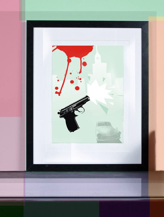 bang bang ... Illustration art giclée print signed by TomekWawer #Tomasz Wawer #gun #print