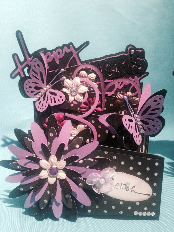 Mother's Day cards ... Cascading card, black & purple -3