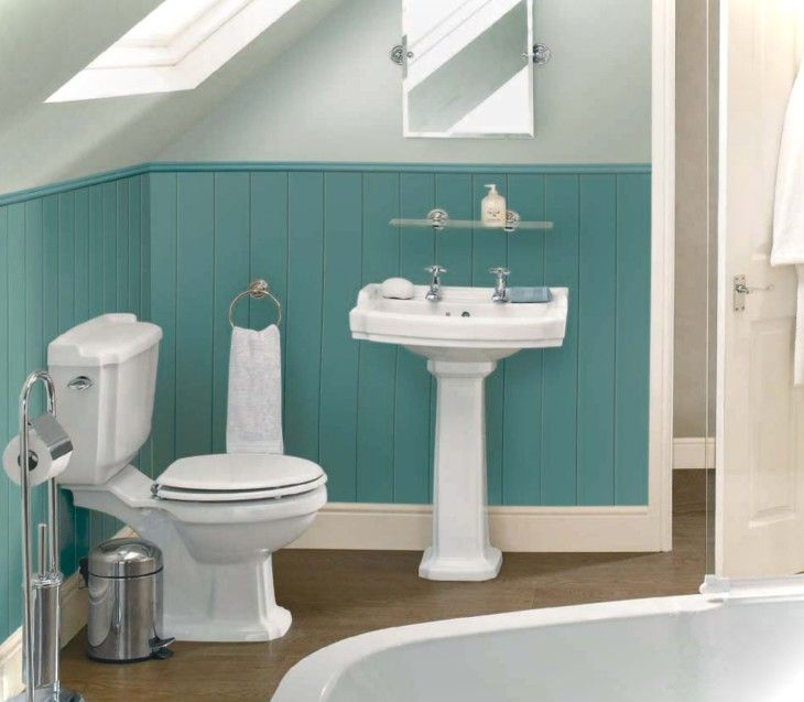 Bathroom Sweet White Pedestal Single Sink And Mirror As Well As White Toilet And Tubs Also Blue Half Bathroom Paint Colors - pictures, photos, images