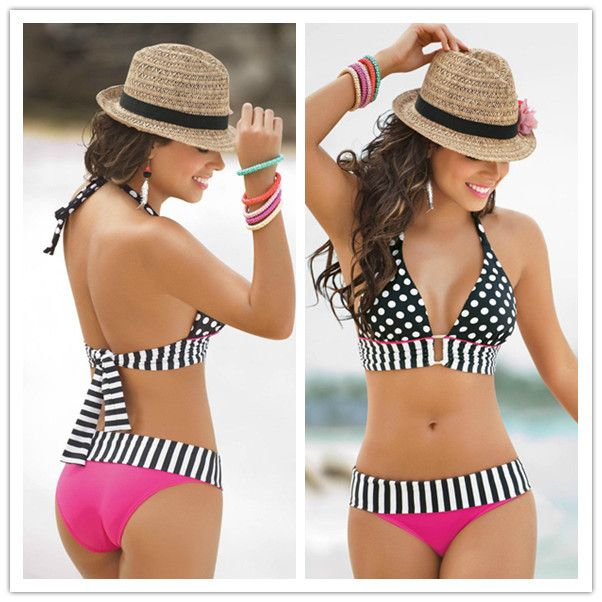 Cheap bikini women, Buy Quality swimsuits for small chests directly from China swimsuits for juniors on sale Suppliers:    Summer Bathing Suit Sexy stripe Fringe Dotted triangl Bikini Top + Bottom Swimsuit for Women Swimwear    Packin