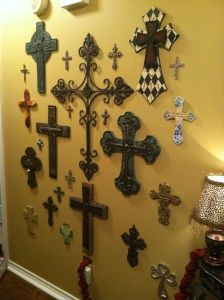 Cross Wall Collage (w/ dates and where they came from written on the back for a keepsake)