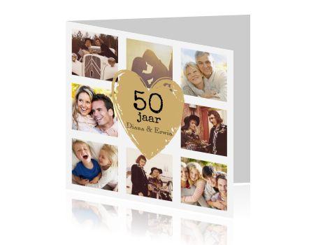 Hippe jubileumkaart fotocollage 50 jaar getrouwd. Mail ons gerust voor hulp bij het plaatsen van de foto's! (2022)