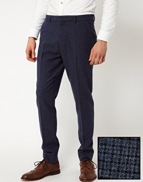 Enlarge ASOS Skinny Fit Suit Trousers in Blue Dogstooth  rub 2030