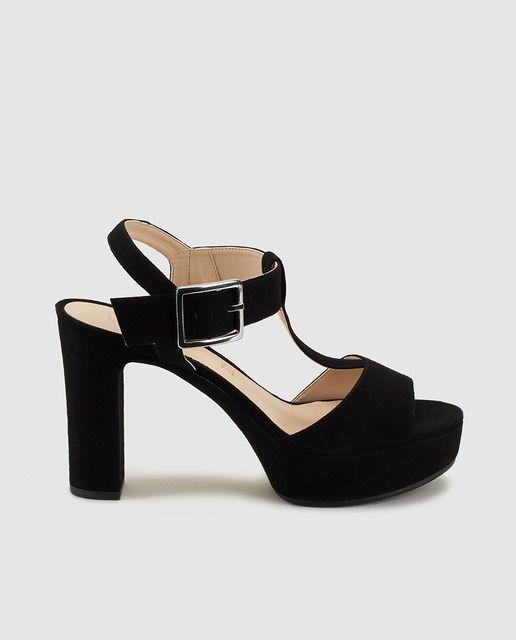 Sandalias de tacón de mujer de Unisa de piel negras