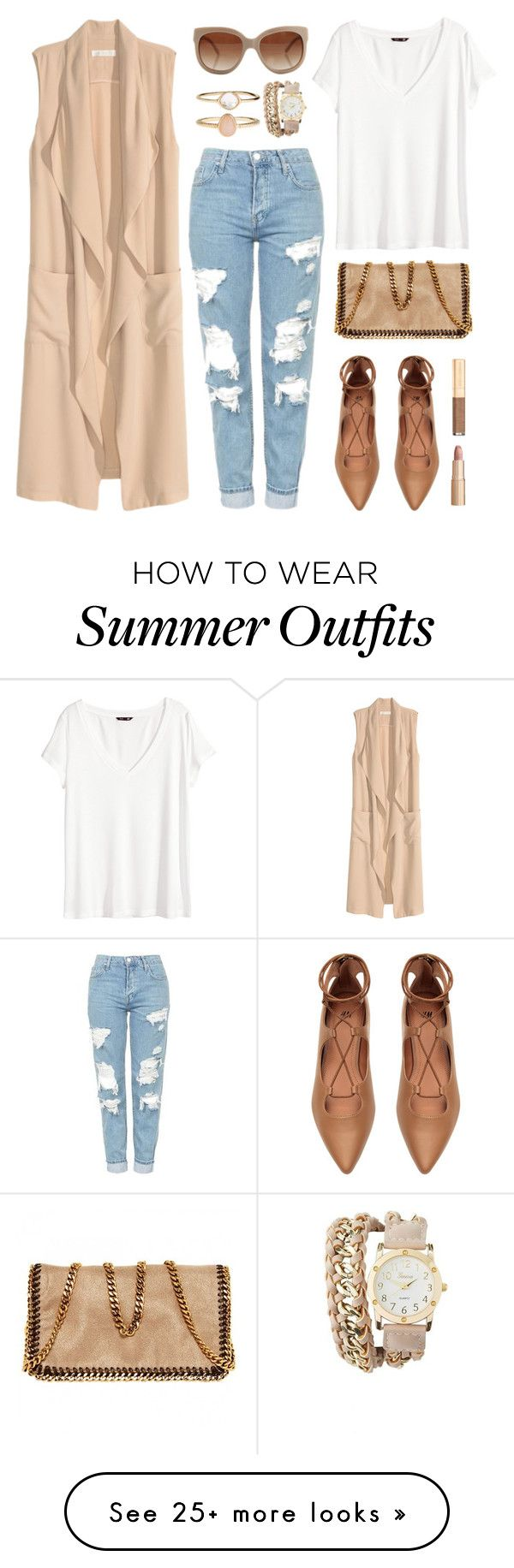"""summer to fall outfit inspiration"" by anja-jovanovich on Polyvore featuring H&M, Topshop, Accessorize, STELLA McCARTNEY, Charlotte Russe, Dolce&Gabbana and Charlotte Tilbury"