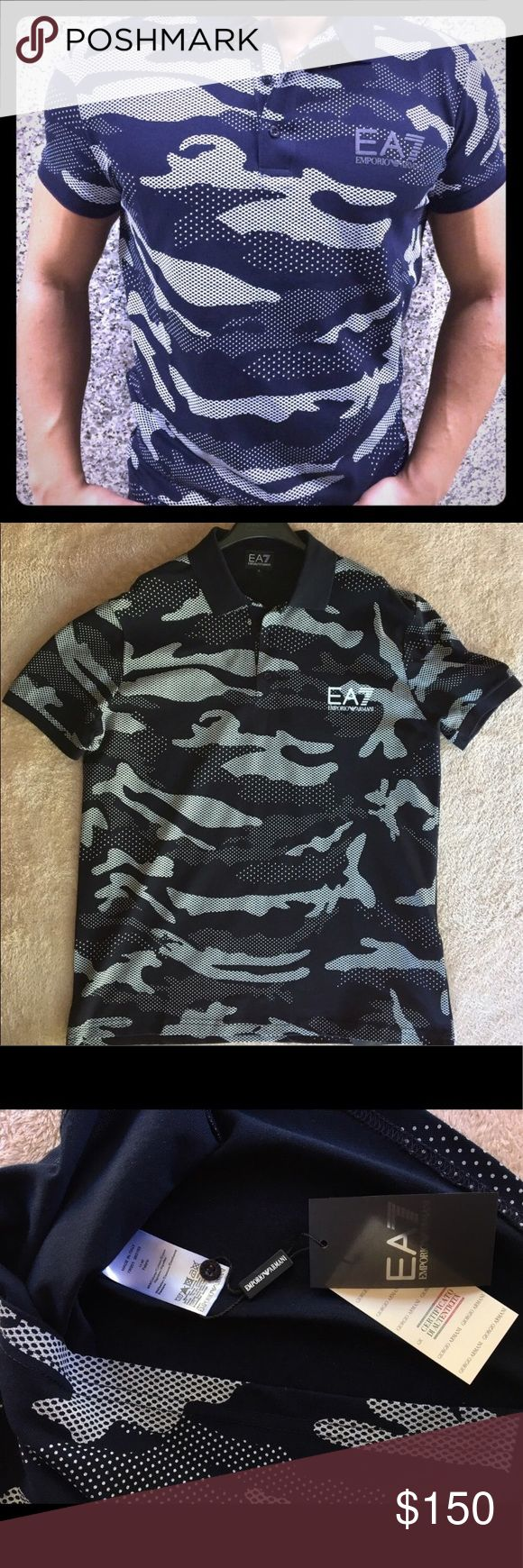 Emporio Armani T- Shirt Description: Black cotton camouflage polo shirt from EA7. It runs one size smaller Emporio Armani Shirts Polos
