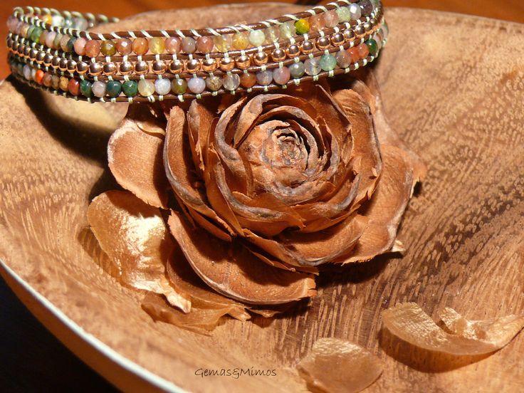 Ágata y gold-filled rosa #jewelry #handmade #gemstones #joyeria #hechoamano #artesania #piedras #wraps