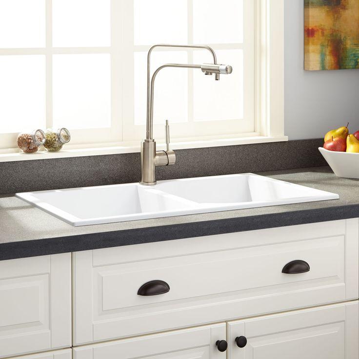 "34""+Vernor+Double-Bowl+Drop-In+Granite+Composite+Sink+-+White"