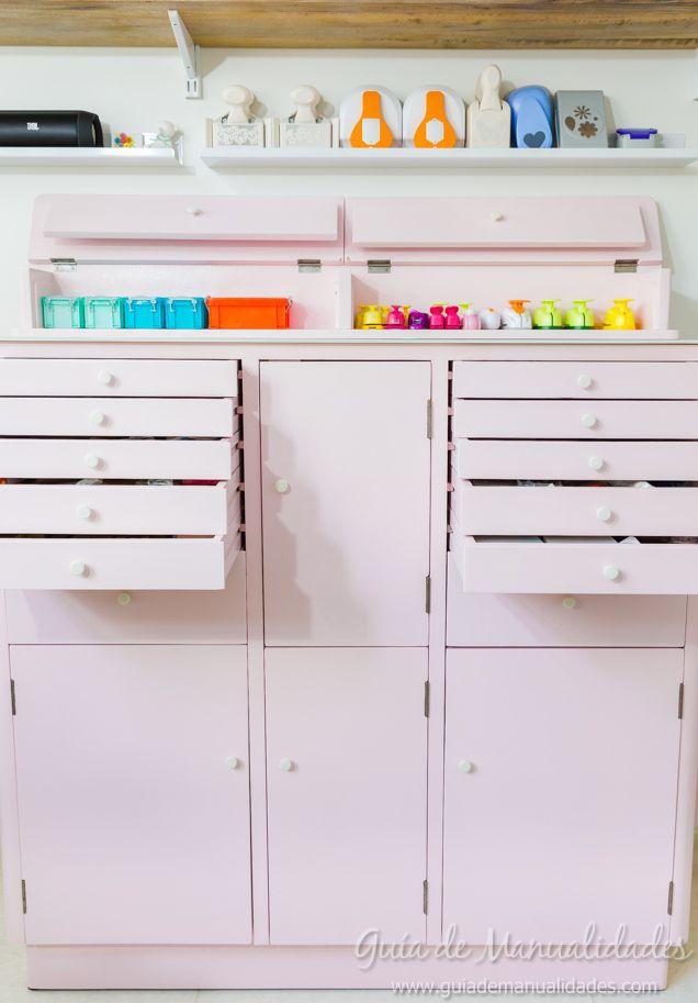 Detalles del mueble de dentista reciclado para el rincón de manualidades
