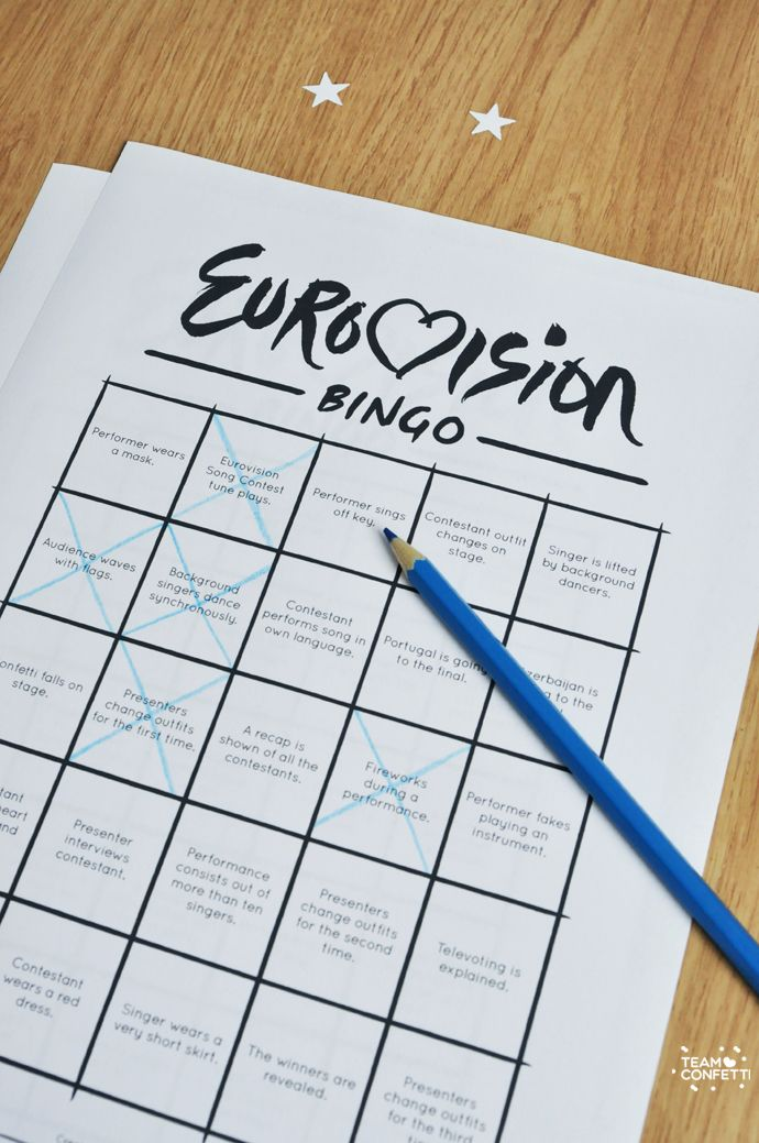Free printable of the eurovision song contest bingo! Ten different bingo cards on a printable PDF. Have fun! Check out our blog for more fun printables: www.teamconfetti.nl