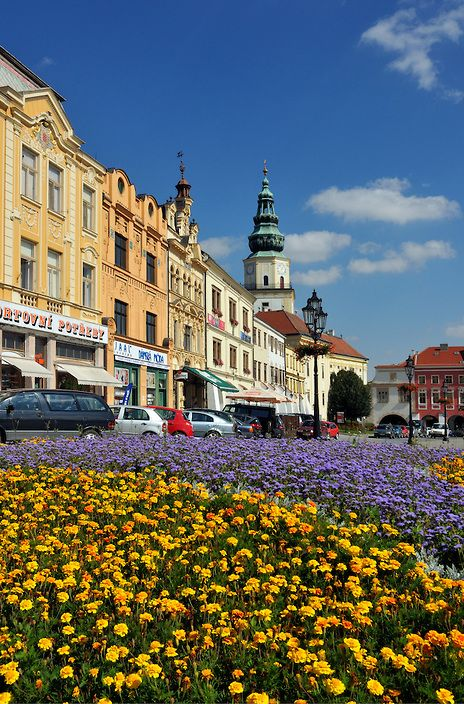 Houses and Tower of Archbishop's Palace, Grand Square (Velke namesti) in Kromeriz, Czech Republic | Petr Svarc Images