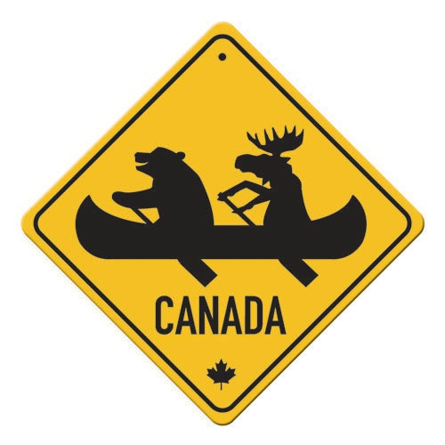 "Canadian reflective metal signs - Bear and Moose in Canoe.  For inside and outside use. 10"" x 10"", rounded corners, with hole for hanging. $19.95"
