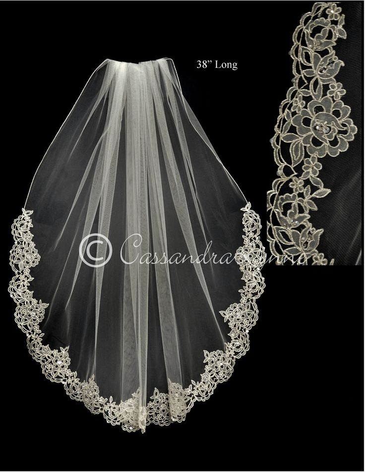 Bridal Veil with Pewter Embroidered Organza and Beads