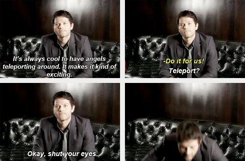 (gif set) Misha Collins Teleports. I. Can't. Breath. Help.