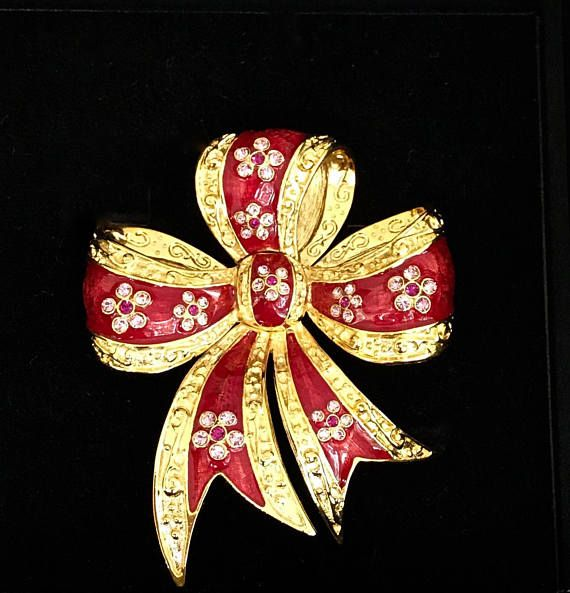 Joan Rivers Red Bow Pin Brooch with Crystals