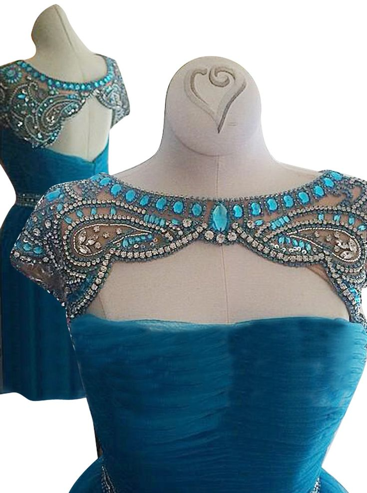 Awesome Bateau Cap Sleeves Short Sky Blue Homecoming Dress with Beading Crystal