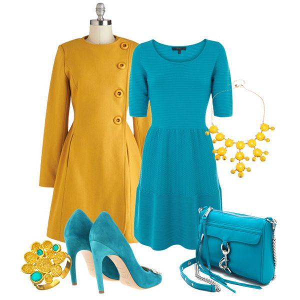 С чем носить бирюзовое платье: желтое пальто, бирюзовые туфли, сумка, желтая бижутерия