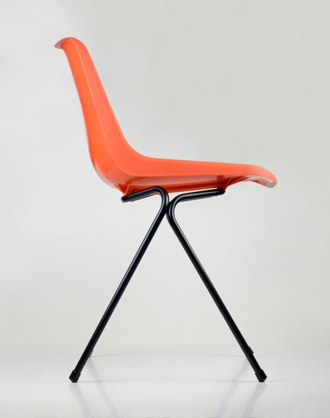 Robin Day; Injection-Moulded Polypropylene and Enameled Metal 'Polyside' Chair, 1963.