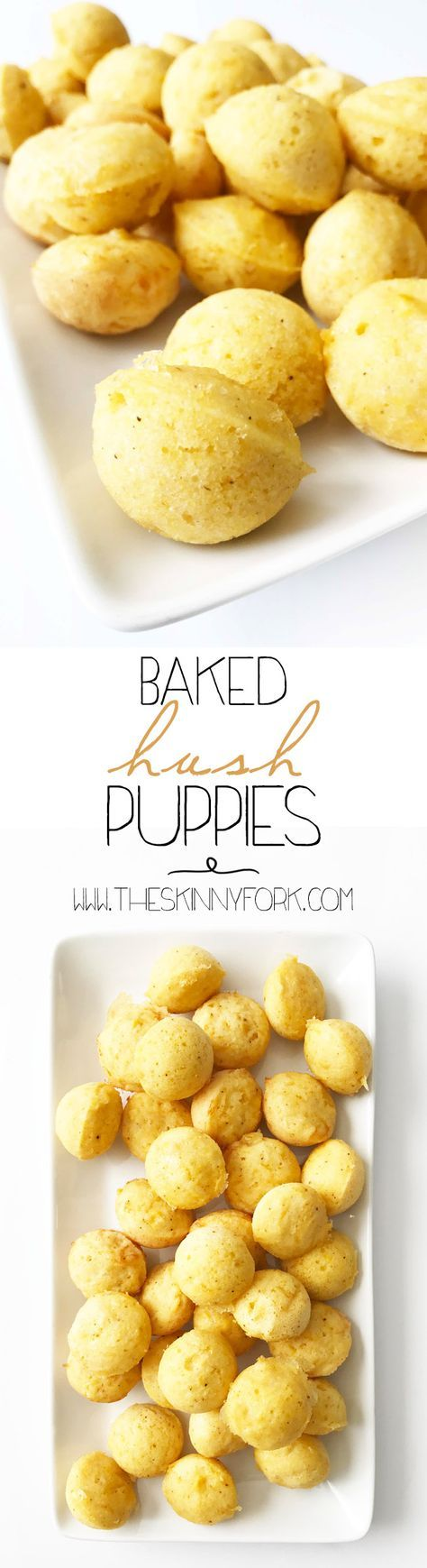 Kicking it southern style with these Baked Hush Puppies with just 4 ingredients! That's right. I've taken the classic corn bread hush puppies and baked them up instead of giving them the usual frying. TheSkinnyFork.com | Skinny & Healthy Recipes