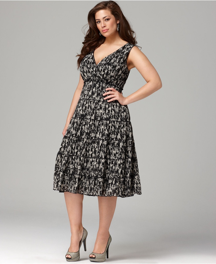 $47.99 Style Plus Size Dress, Sleeveless Printed Tiered ...