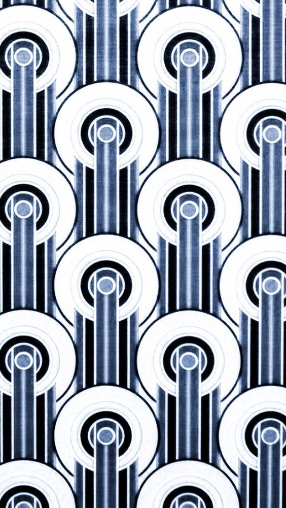 Art Deco Design: in varying shades of grey/ silver