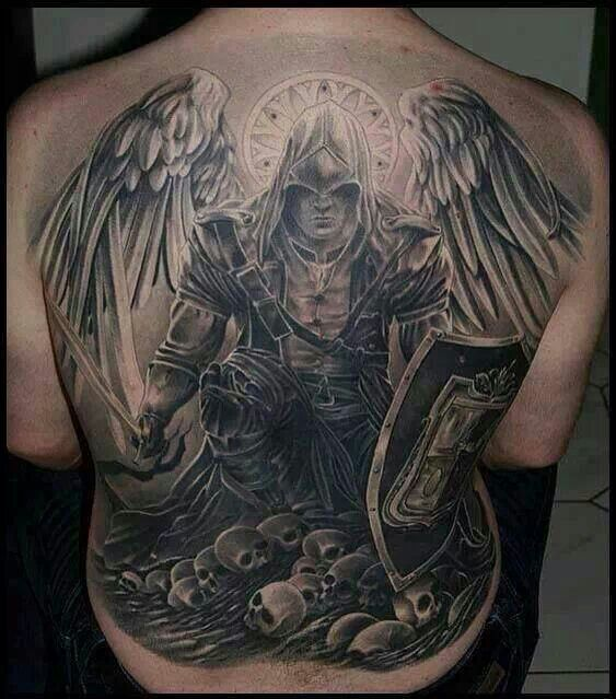 Back Piece, Tattoo, Angel Of Death, Wings, Skull, Tusch