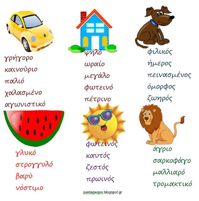 Περί μαθησιακών δυσκολιών: Άσκηση για εμπλουτισμό λεξιλογίου: Περιγραφή με αυ...