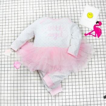 """Lovely """"little angel"""" Print Tulle Long-sleeve jumpsuit for Baby Girl"""