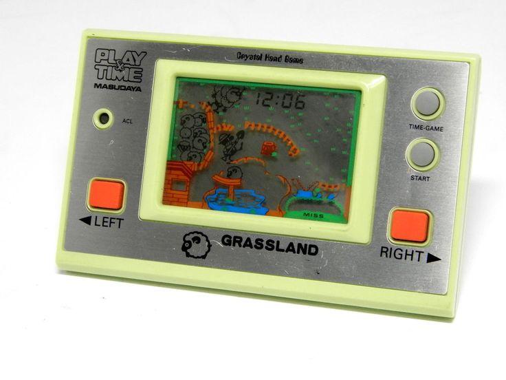 "80s Retro Masudaya LCD Game Watch ""Play & Time"" Grass Land MIJ Great Condition #Masudaya"