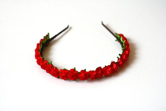little rosie headband  bright red // woodland by kisforkani, $29.00