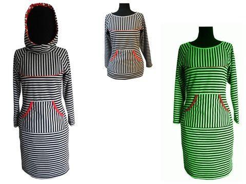 Frieda:Kapuzenkleid/shirt ,lang& kurz_Gr.34-58+Bild Nähanleitung - Schnittmuster und Nähanleitungen bei Makerist